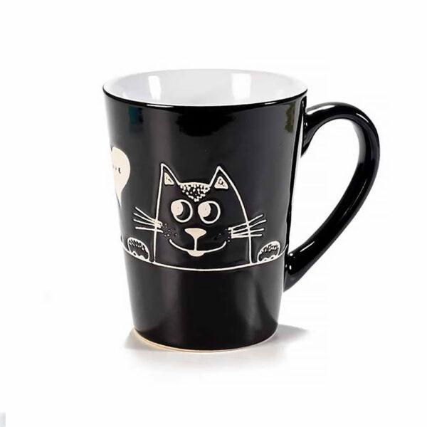 Tazza in ceramica nera con gatto in rilievo