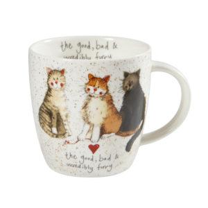 """Tazza in ceramica con gatti """"Il buono, il cattivo e il peloso"""""""