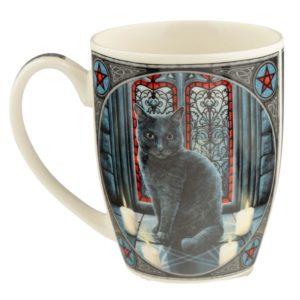 Tazza con gatto arcano disegnato da Lisa Parker