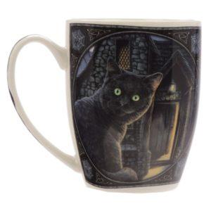 Tazza con gatto curioso disegnato da Lisa Parker
