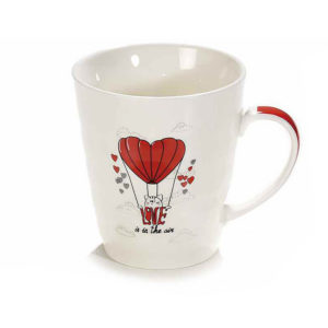 "Tazza in ceramica con gatto ""Love is in the air"""