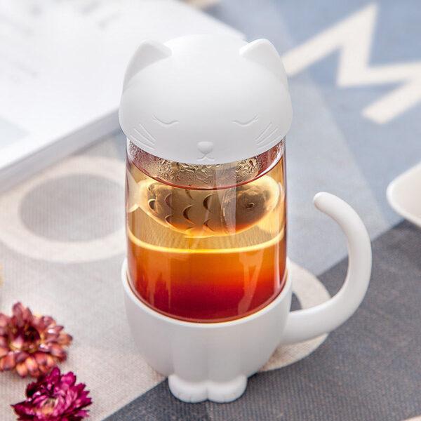 Tazza infusore da tè a forma di gatto, ambientato 2