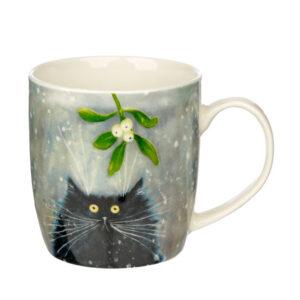 Tazza di Natale coi gatti pazzi disegnati da Kim Haskins, gatto nero con vischio
