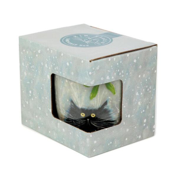 Tazza di Natale coi gatti pazzi disegnati da Kim Haskins, gatto nero con vischio confezione