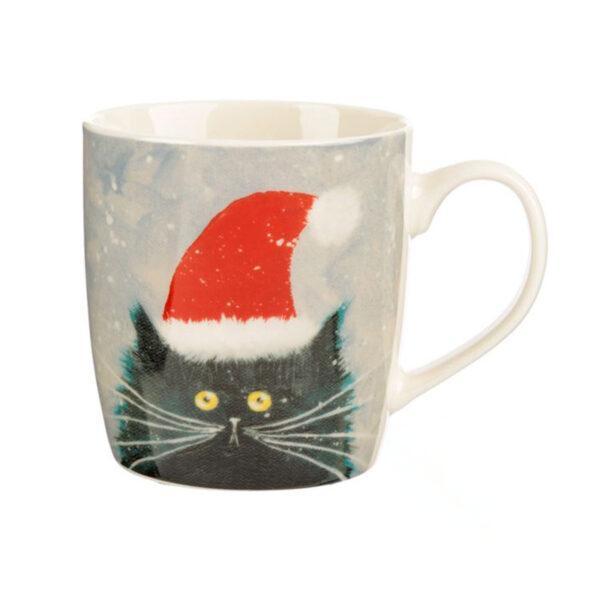 Tazza di Natale con gatto pazzo di Kim Haskins