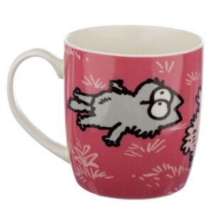 Tazza in porcellana con il gatto di Simon's Cat rosa