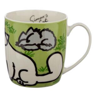 Tazza in porcellana con il gatto di Simon's Cat verde