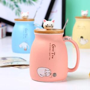 Tazza in porcellana rosa con coperchio in legno gatti pesciolino