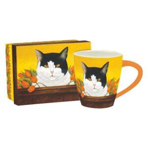 Tazza in scatola regalo gialla con gatto bianco e nero