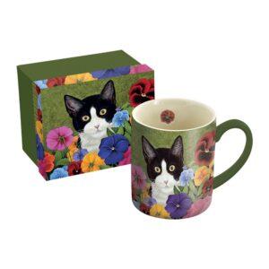 Tazza in scatola regalo verdecon gatto bianco e nero