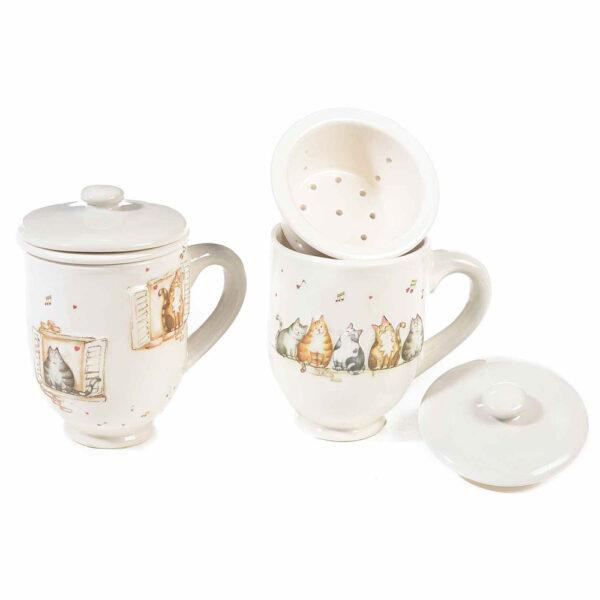 Tazza tisaniera in ceramica con gatti