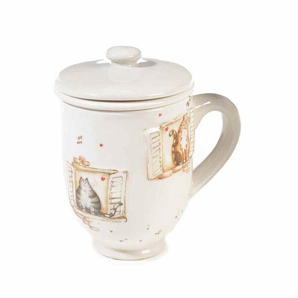 Tazza tisaniera in ceramica con gatti alla finestra