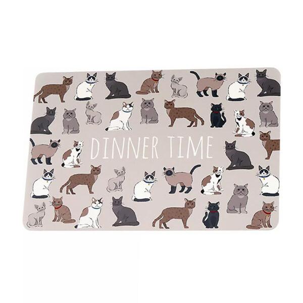 """Tovaglietta beige con gatti e gattini con scritta """"Dinner time"""""""