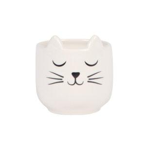 Vasetto bianco musetto di gatto