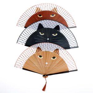 Ventaglio in legno di bambù e tessuto a forma di musetto di gatto