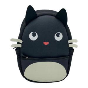 Zainetto nero in neoprene a forma di gattino nero