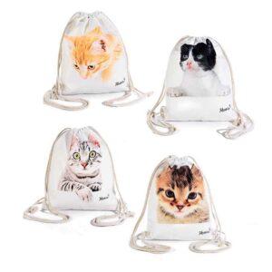 Zaino a sacco in tessuto con gatti